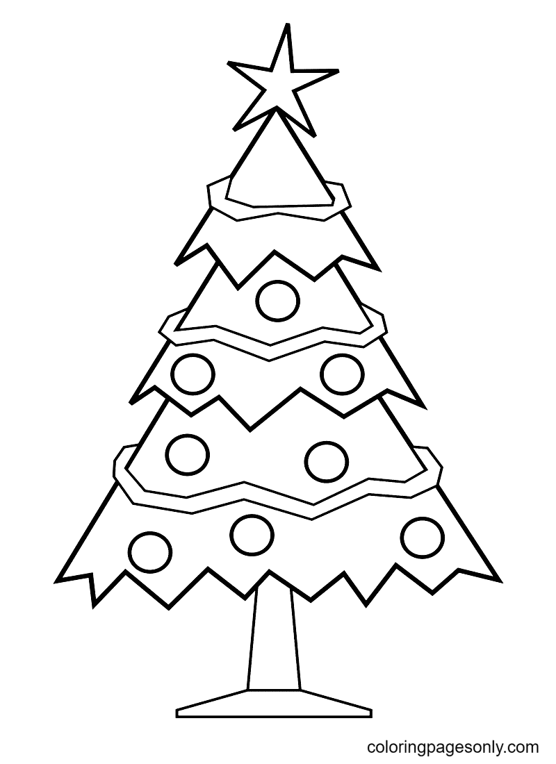 A Classic Christmas Tree Coloring Page
