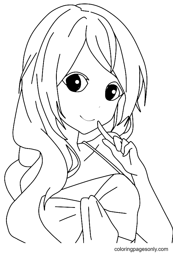 A Cute Anime Girl Coloring Page
