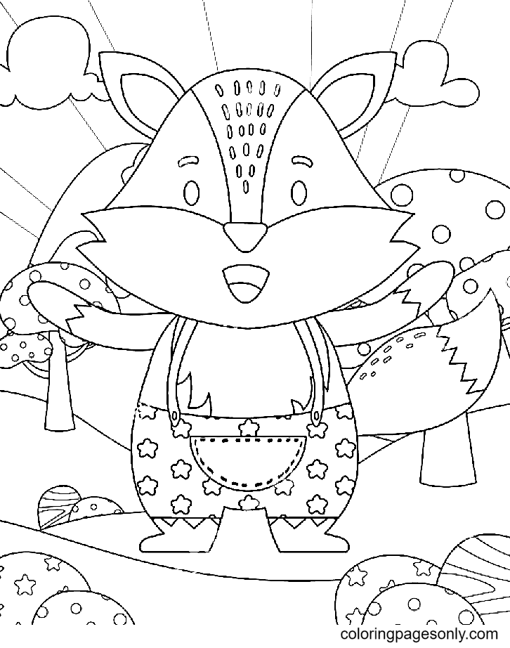 A Cute Fox Coloring Page
