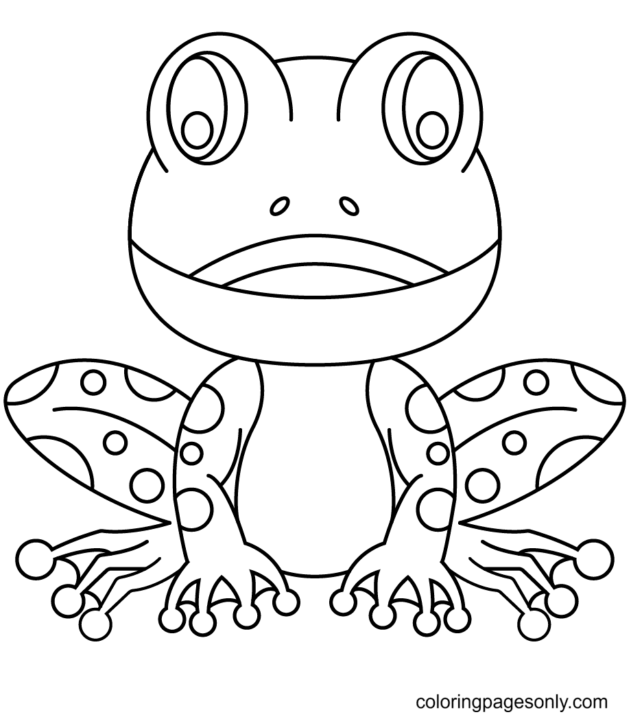 A Frog Looks Cute and Happy Coloring Page