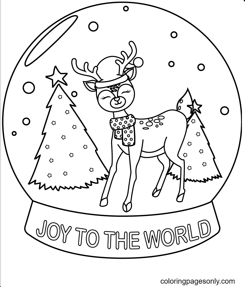 A Smiling Reindeer Standing in a Snowball Coloring Page