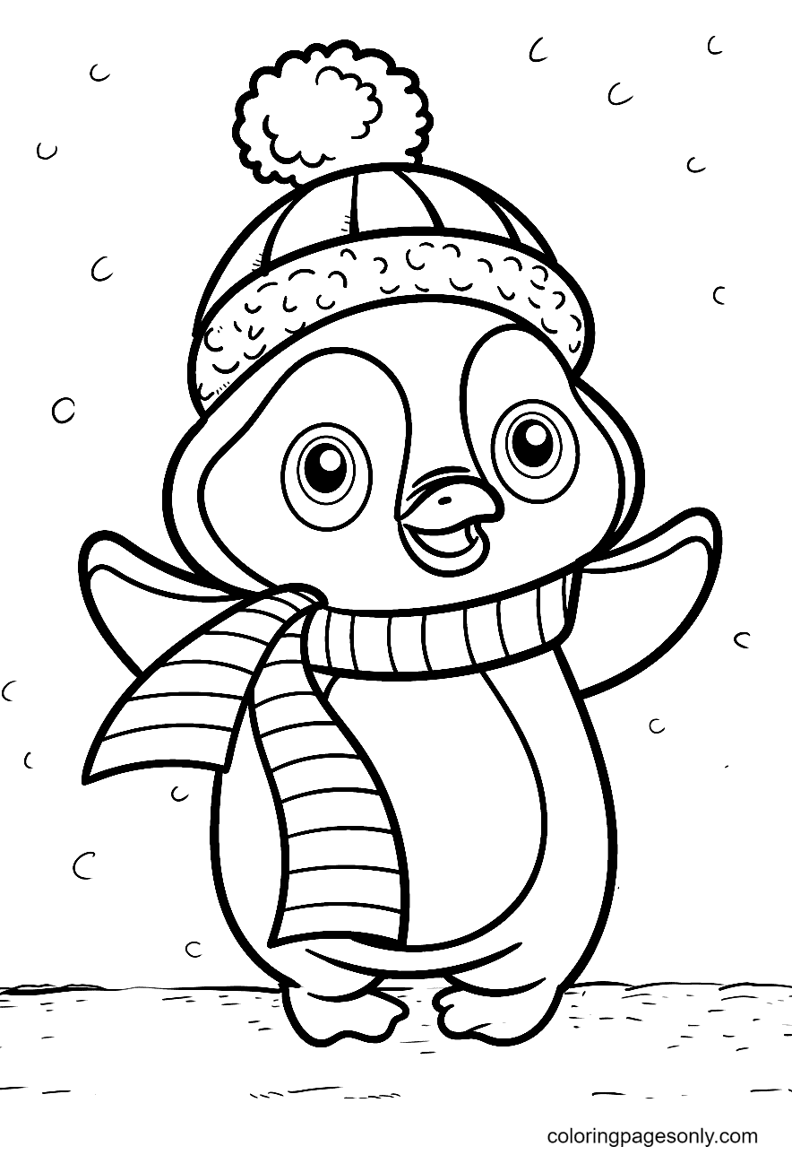 A Warm Penguin in Cold Weather Coloring Page