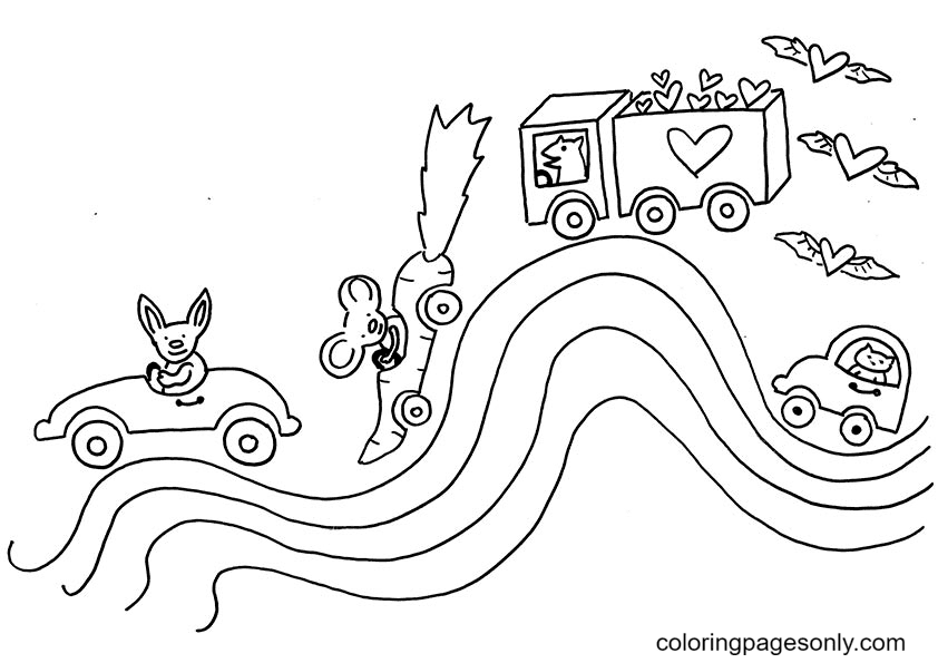 A Zig Zag Rainbow Road Coloring Page
