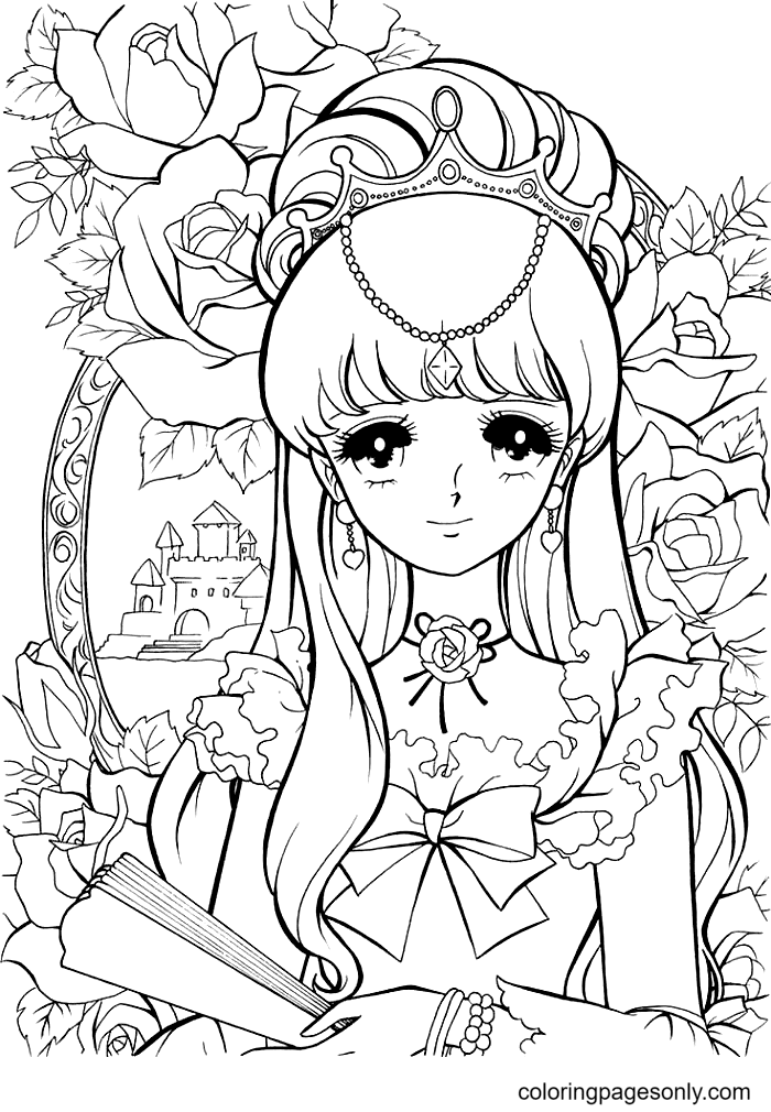 Adorable Anime Girl with Long Hair Coloring Page