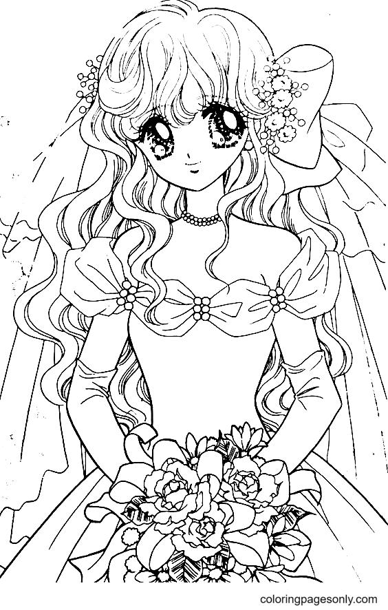 Adorable Anime Girl Coloring Page