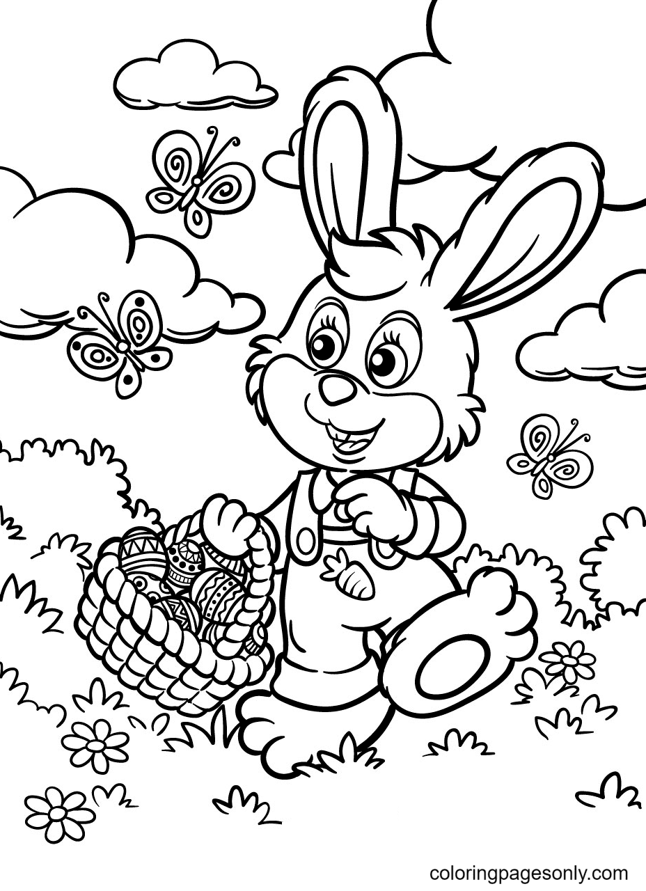 Adorable Easter Bunny Coloring Page