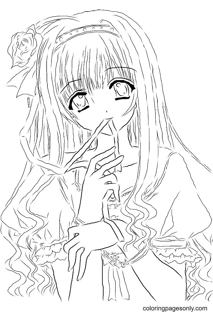 Adorable Long Hair Anime Girl Coloring Page