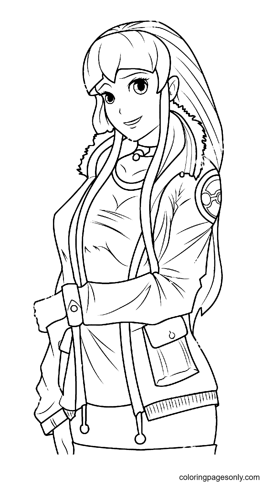 Adorable Manga Girl Posing in a Jacket Coloring Page
