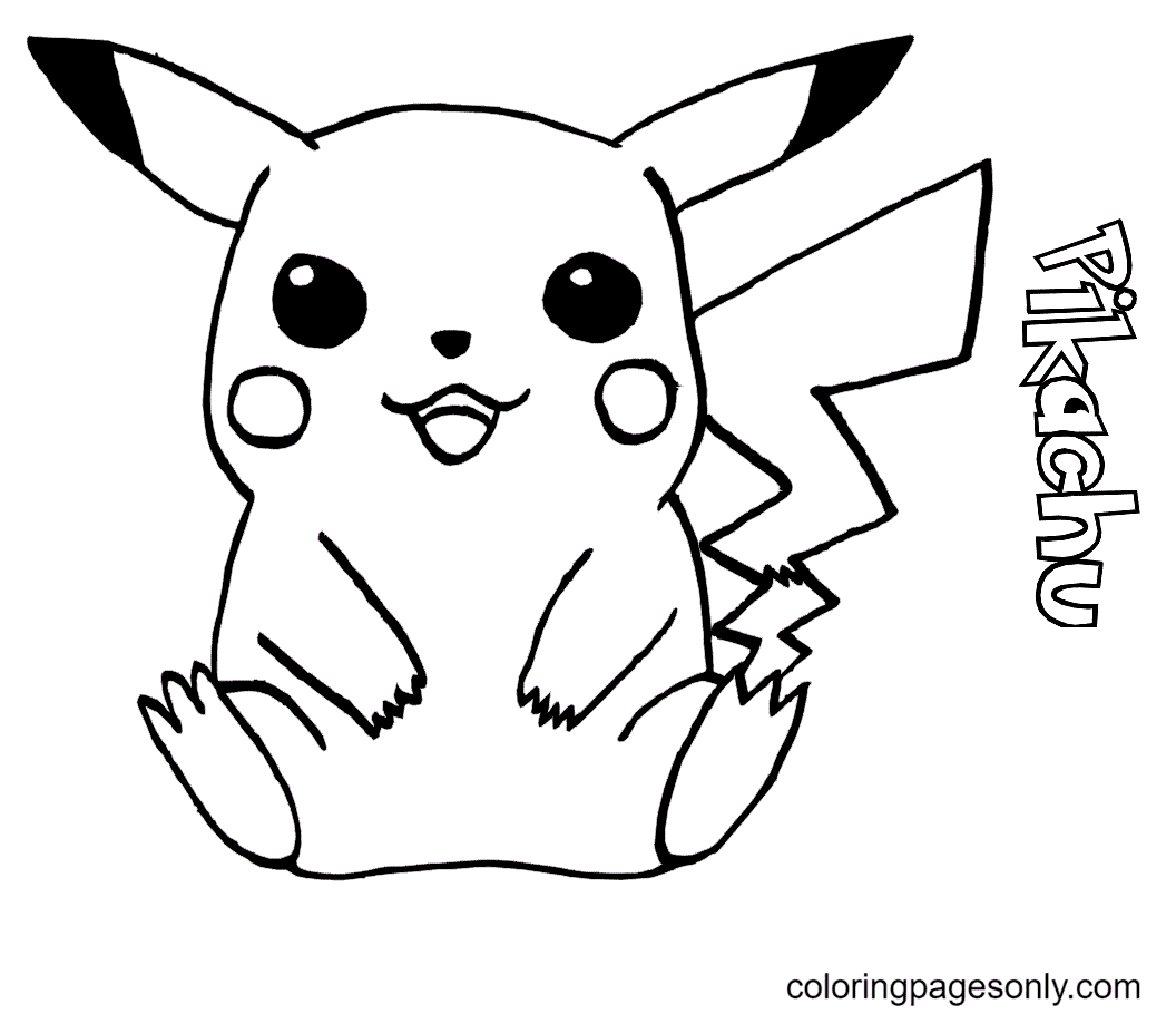 Adorable Pikachu Coloring Page