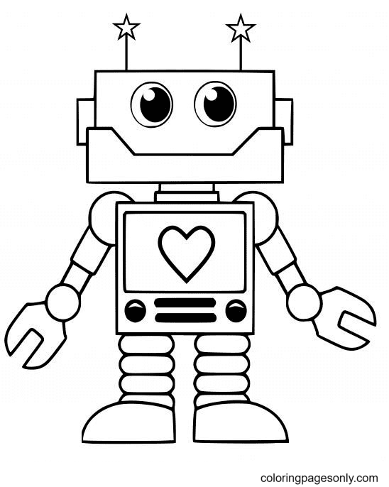 Adorable Robot Coloring Page
