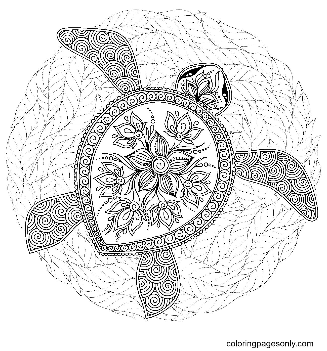 Adorable Sea Turtle Coloring Page