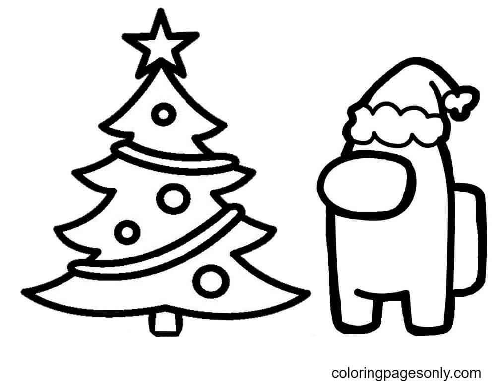 Among Us Christmas Tree Coloring Page