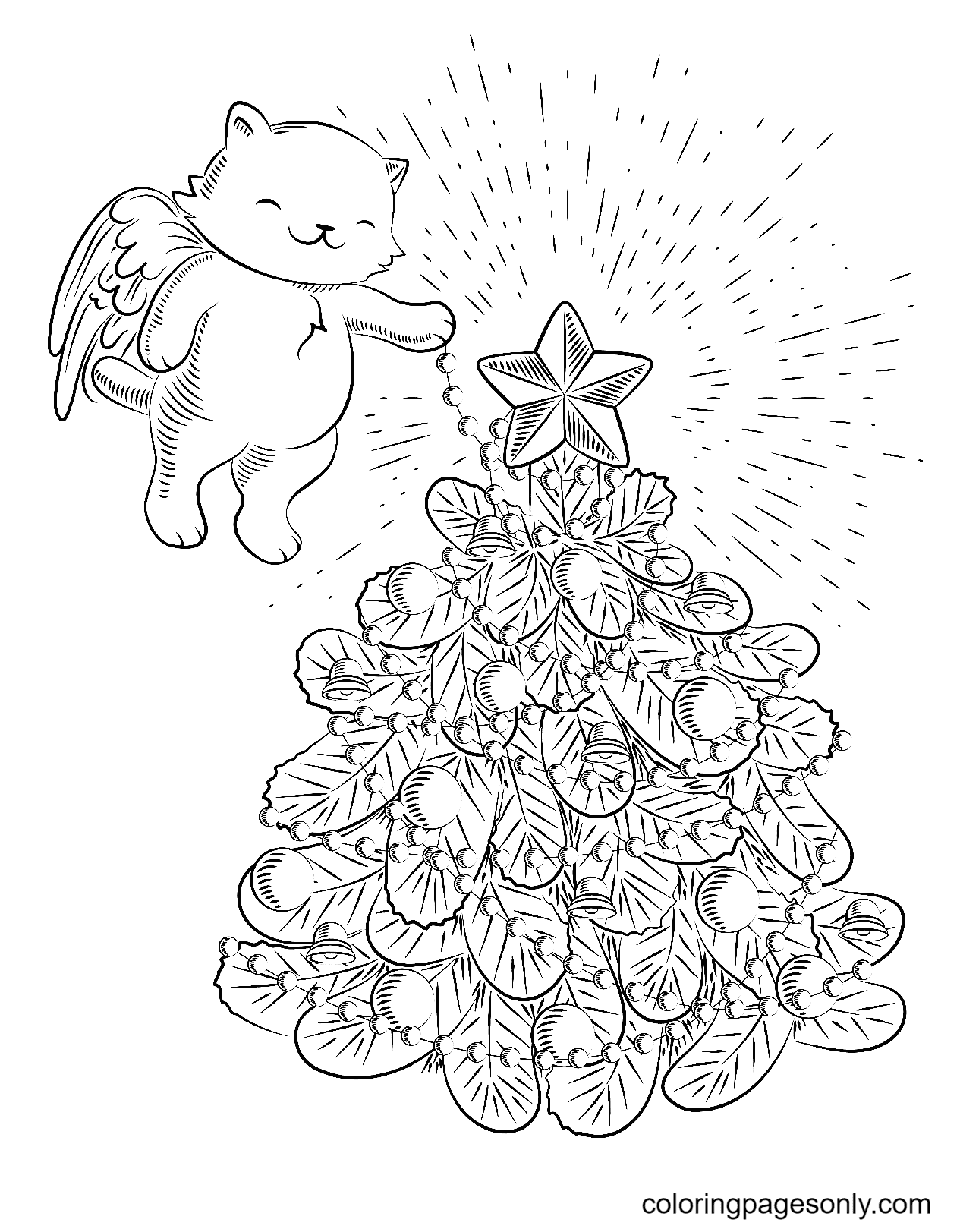 Angel Bear with Christmas Tree Coloring Page