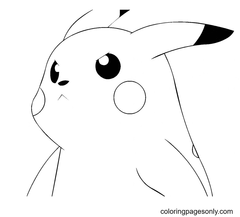 Angry Pikachu Coloring Page