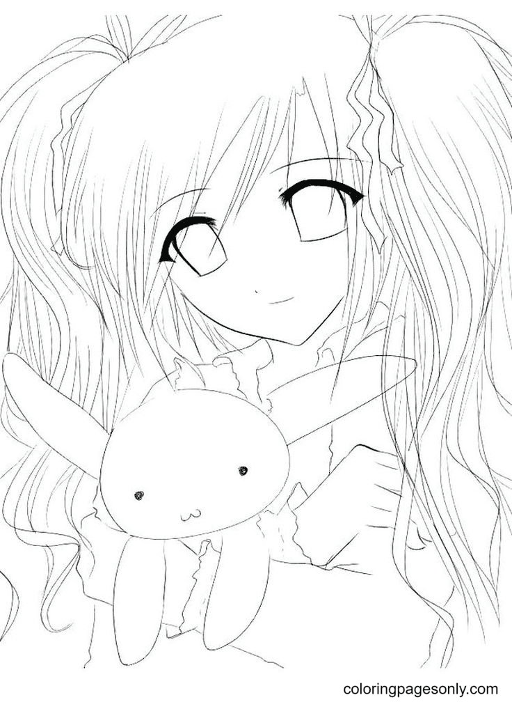 Anime Girl And Bunny Coloring Page