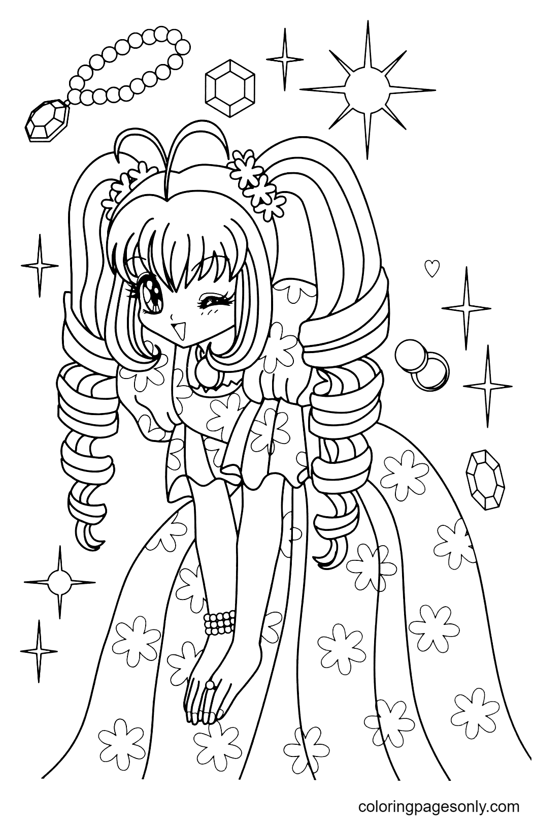 Anime Girl Cute Coloring Page