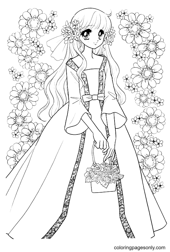 Anime Girl Holding Flower Basket Coloring Page