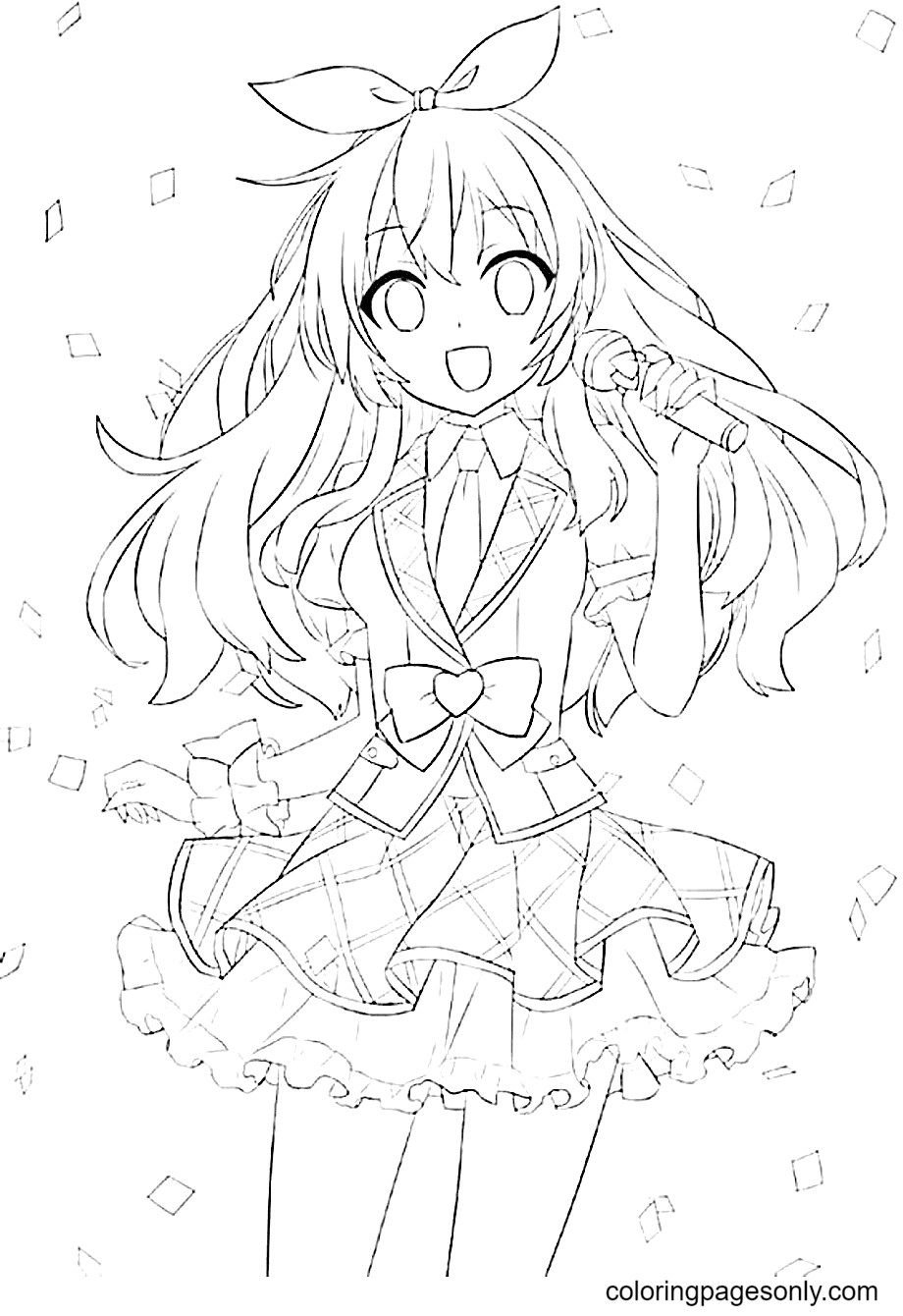 Anime Girl Singing Coloring Page
