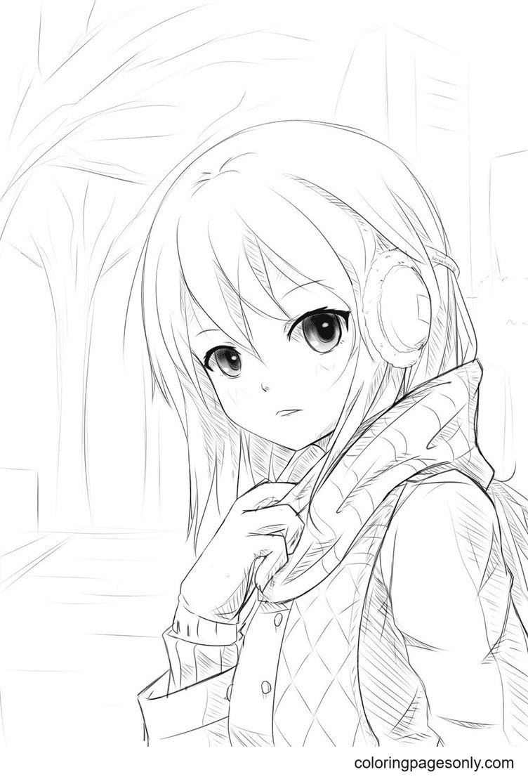 Anime Girl Wearing Headphones Coloring Page