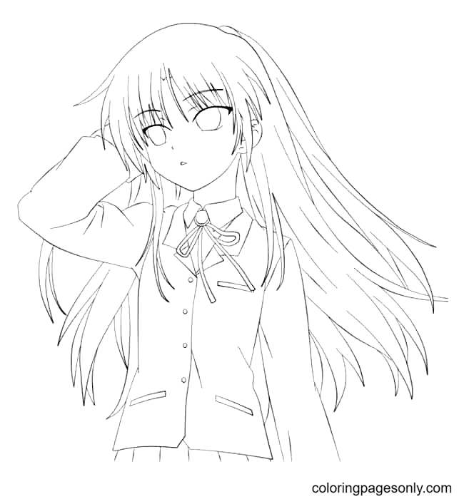 Anime Girl With Beautiful Hair Coloring Page