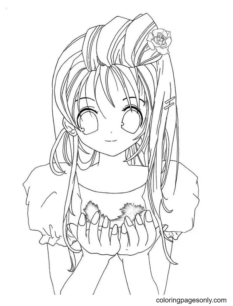 Anime Girl With Impressive Hair Coloring Page