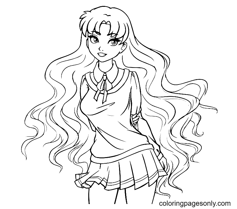 Anime Girl With Long Curly Hair Coloring Page