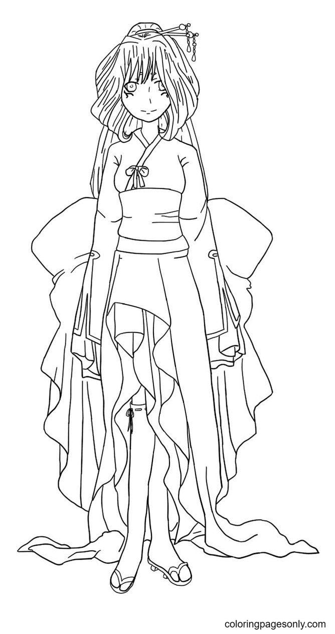 Anime Kimono Girl Coloring Page