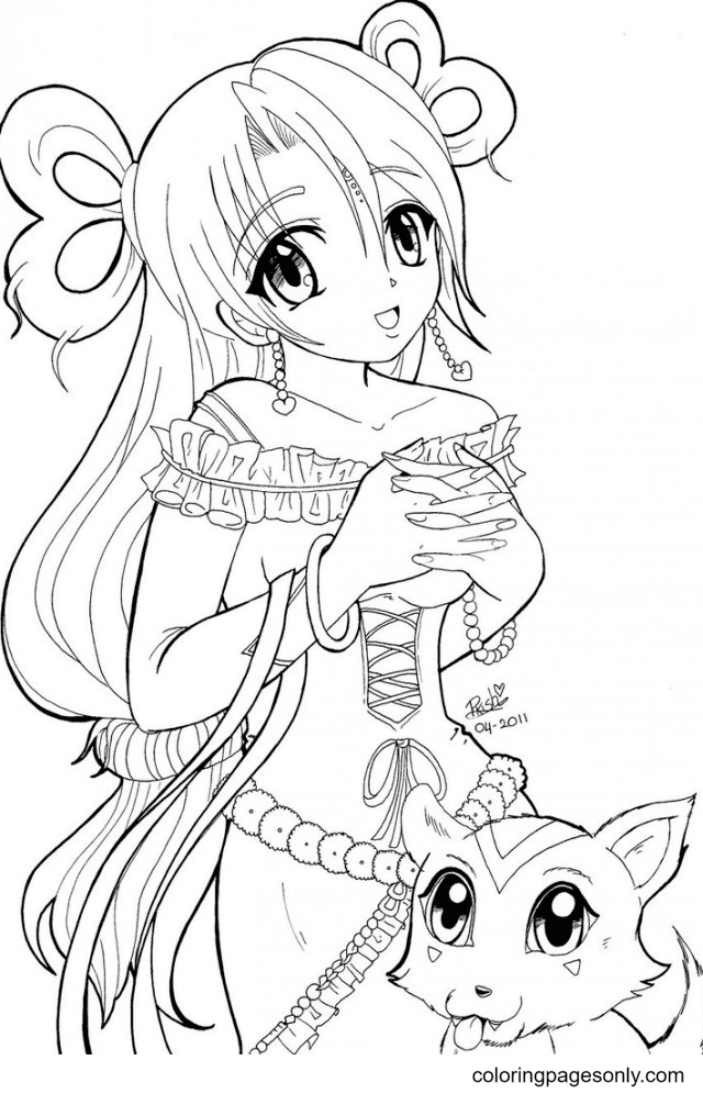 Anime Princess Coloring Page
