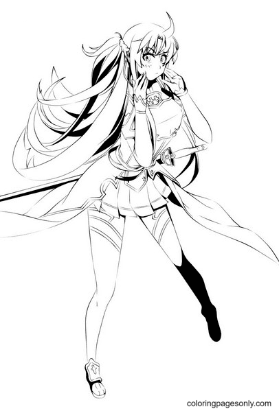Asuna With Sword Coloring Page