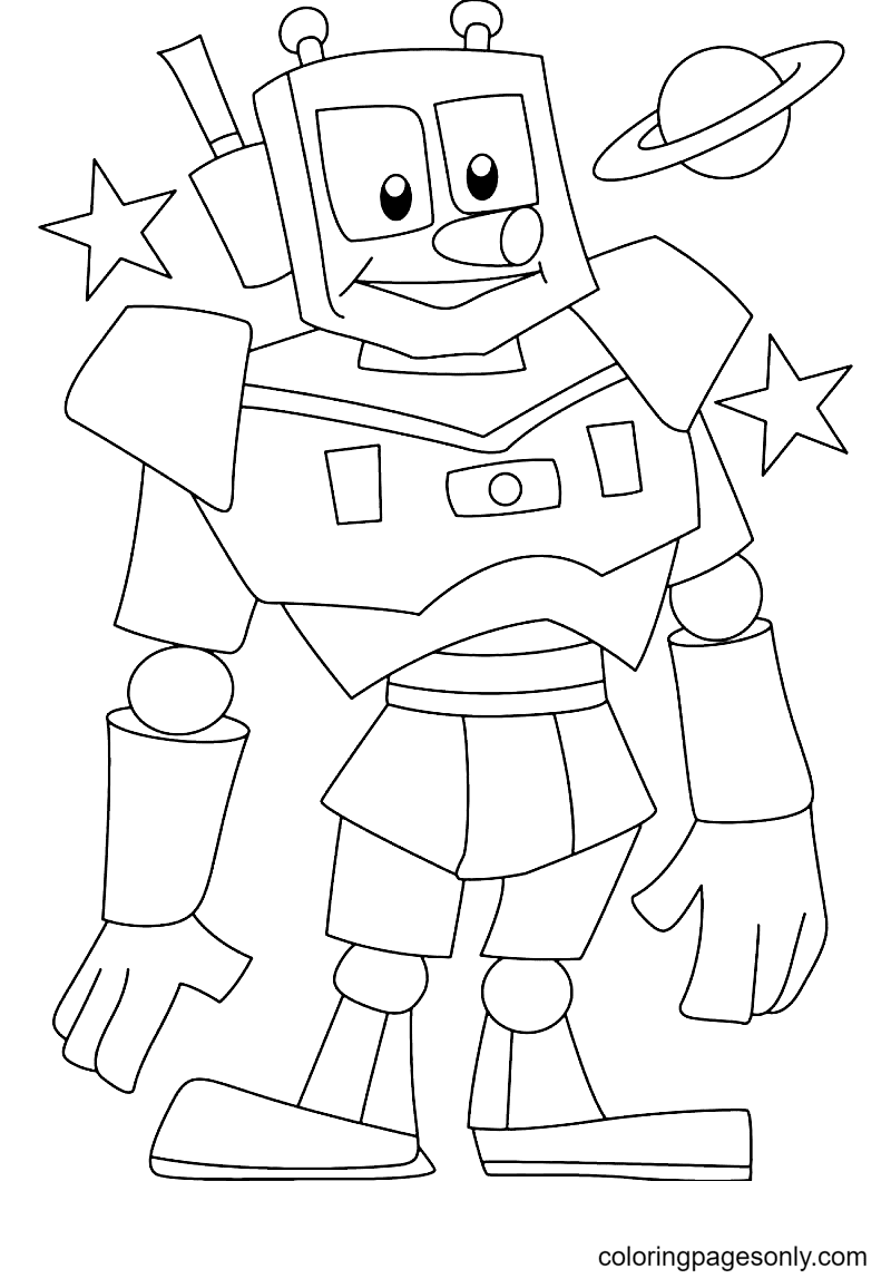 Awsome Robot Coloring Page