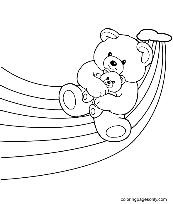 Baby Bear And Rainbow Coloring Page
