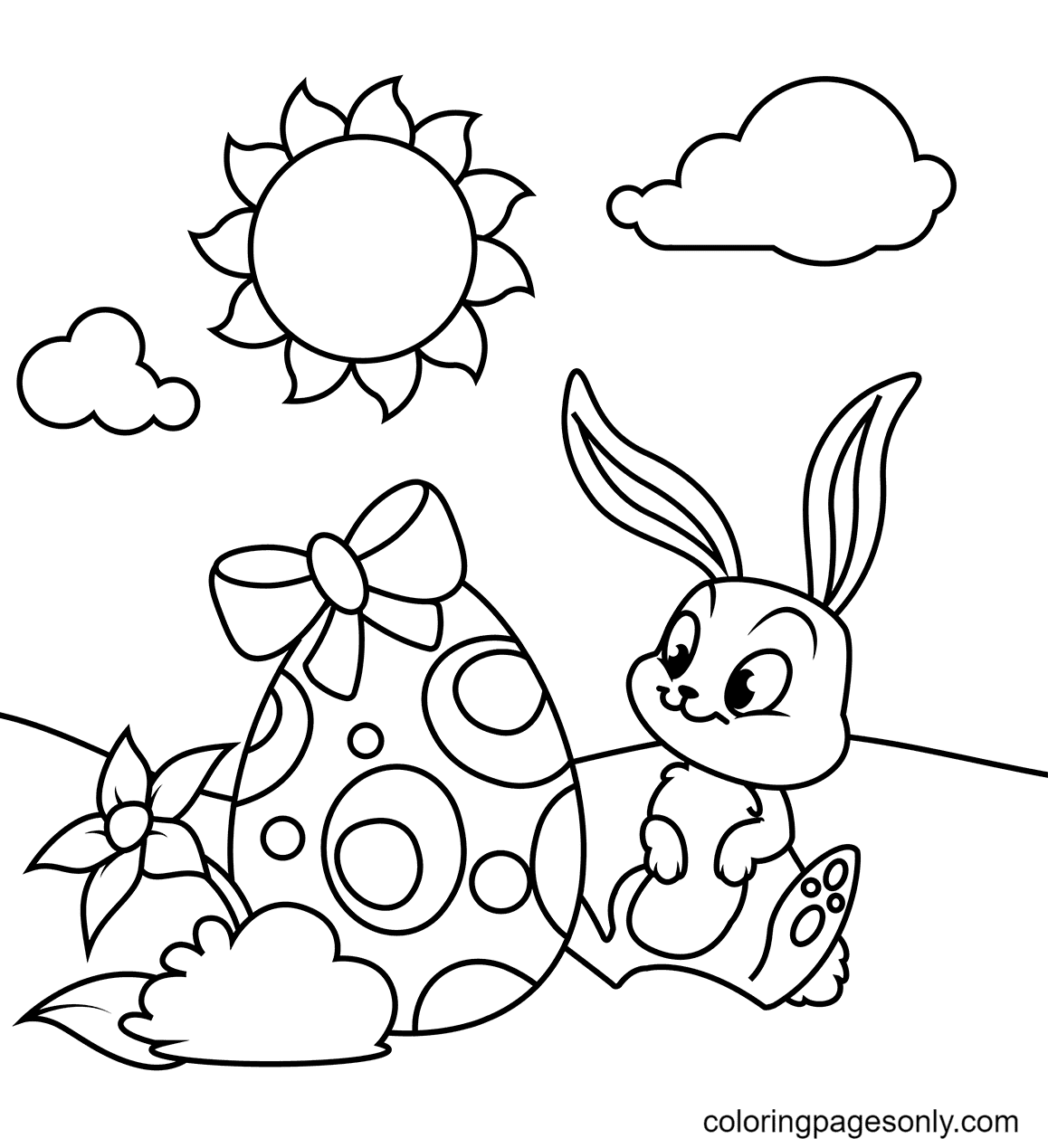 Baby Bunny with Easter Egg Coloring Page