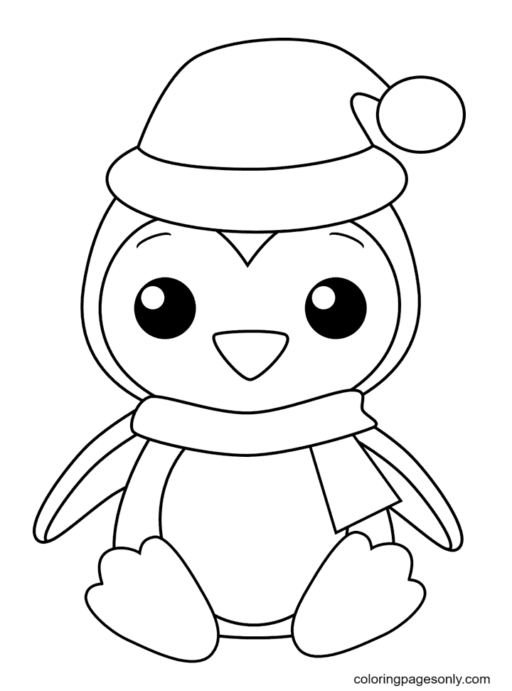 Baby Penguin Wearing a Hat Coloring Page