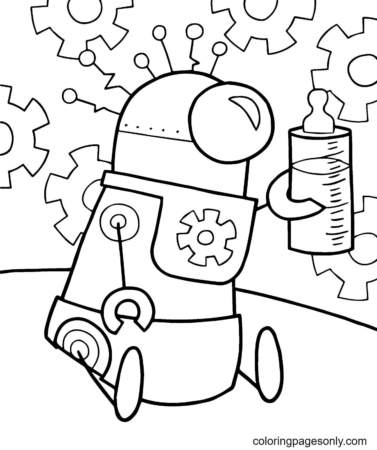 Baby Robot Coloring Page