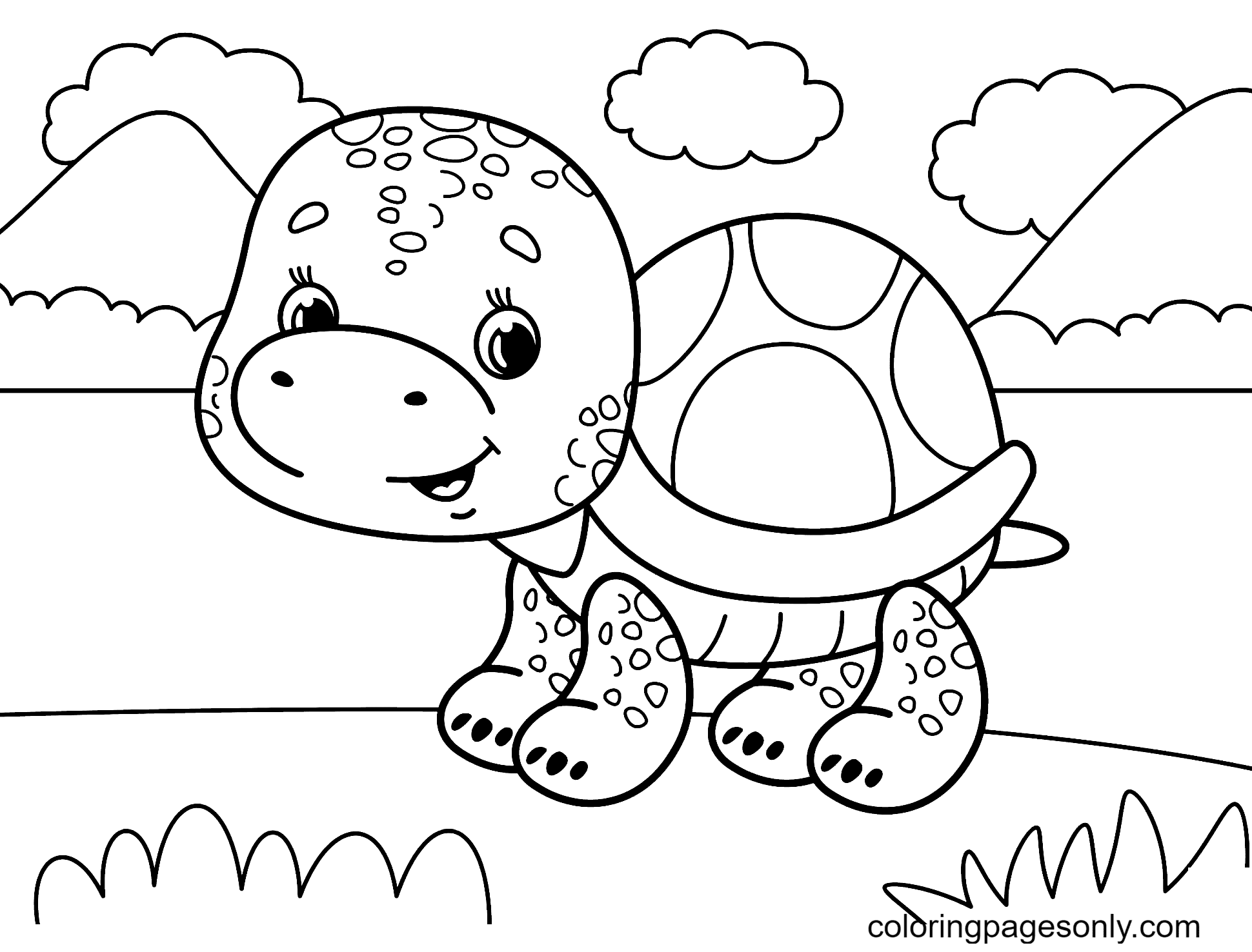 Baby Turtle Walking Coloring Page