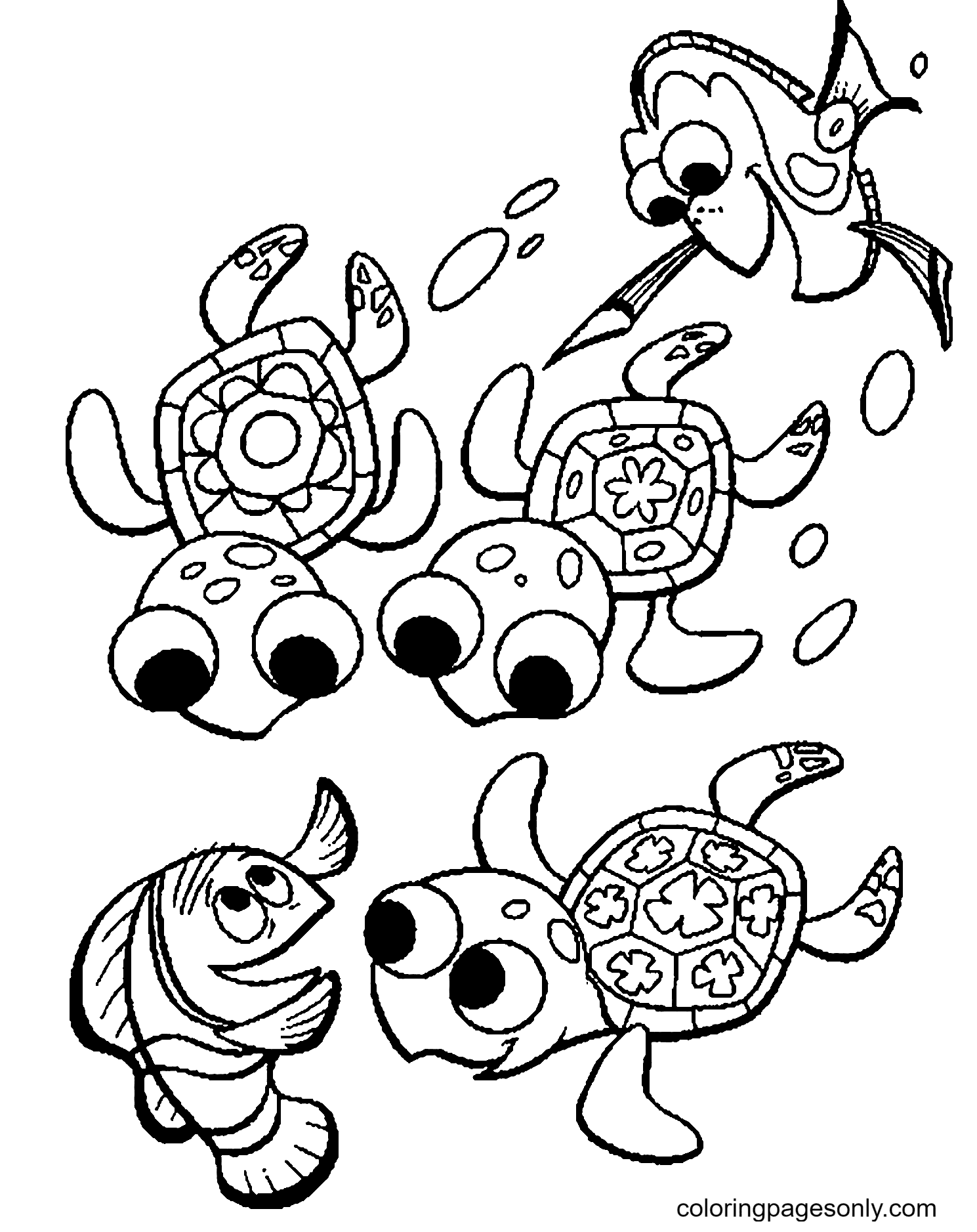 Baby Turtles and Baby Fishes Coloring Page