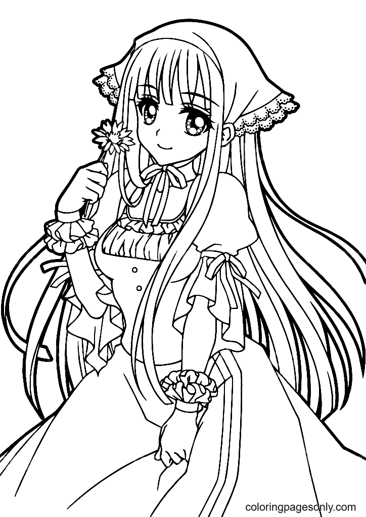 Beautiful Anime Girl Holding A Flower Coloring Page