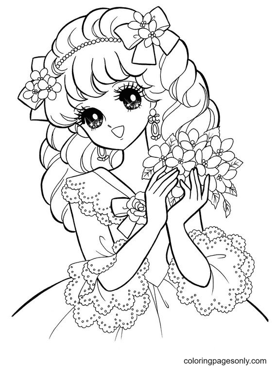 Beautiful Anime Girl Holding Flowers Coloring Page