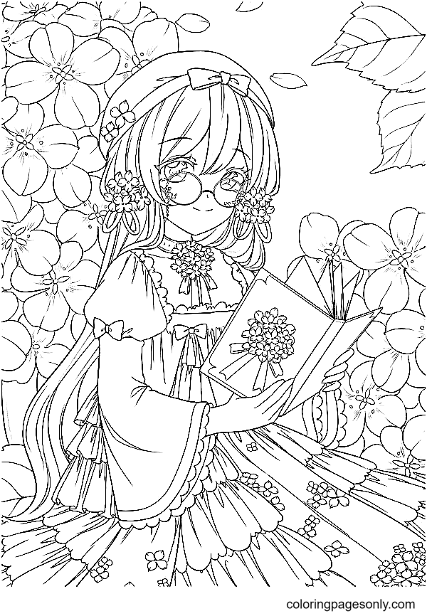 Beautiful Anime Girl Wearing Reading Glasses Coloring Page