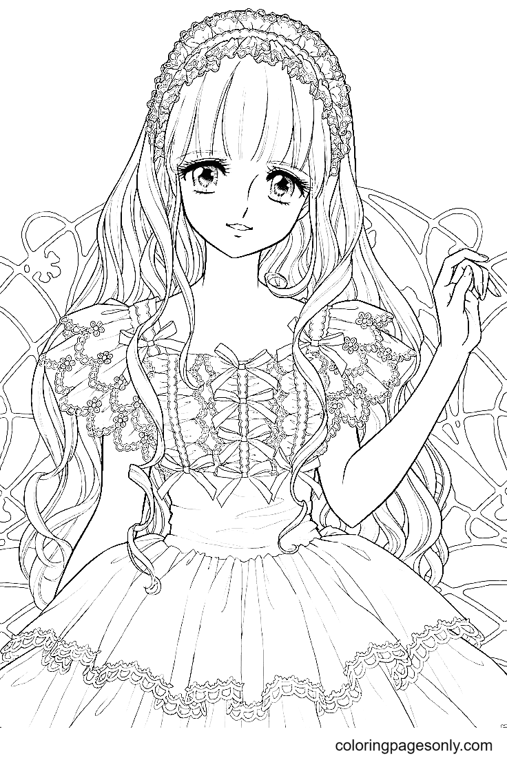 Beautiful Anime Girl with Long Hair Coloring Page
