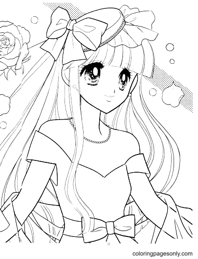 Beautiful Anime Girl Coloring Page