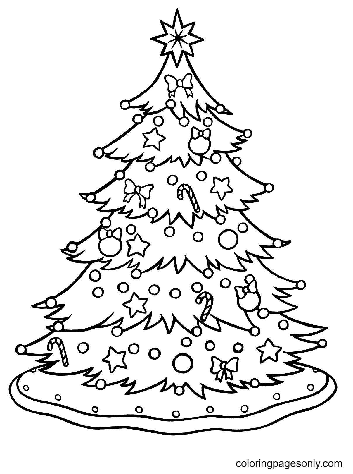 Beautiful Big Christmas Tree Coloring Page