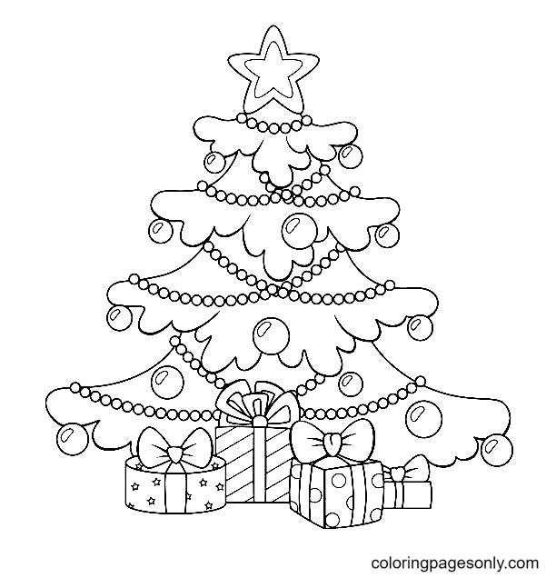 Beautiful Christmas Tree and Gift Boxes Coloring Page
