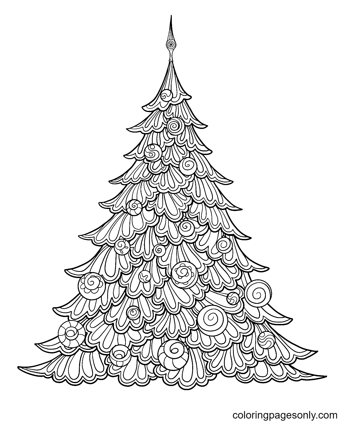 Beautiful Christmas Tree with Swirls Coloring Page
