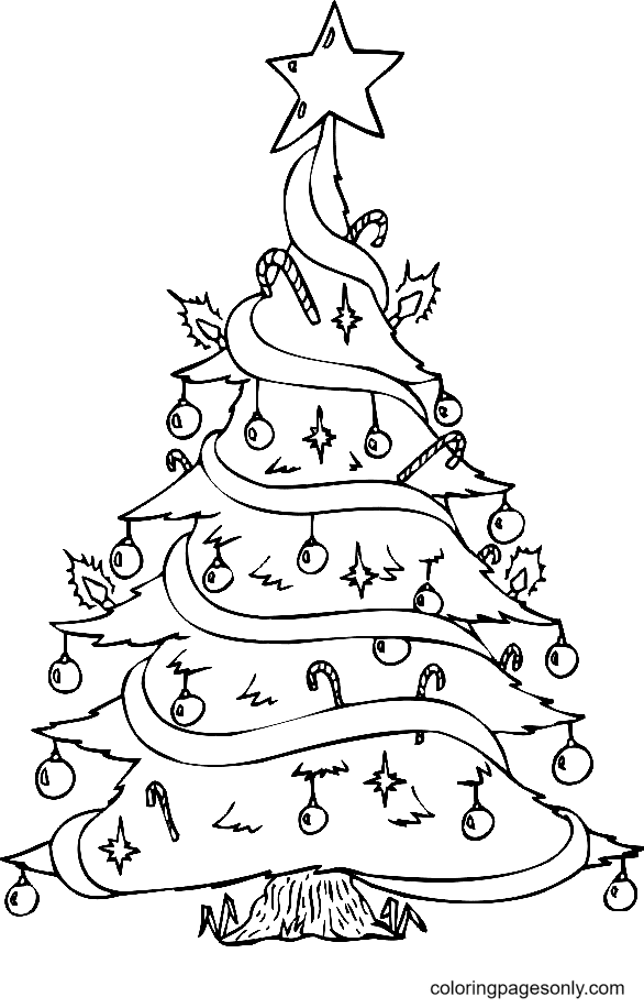 Beautiful Christmas Tree Coloring Page