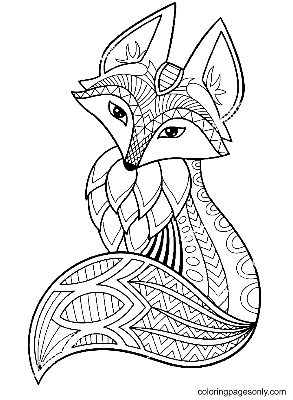 Beautiful Fox Coloring Page