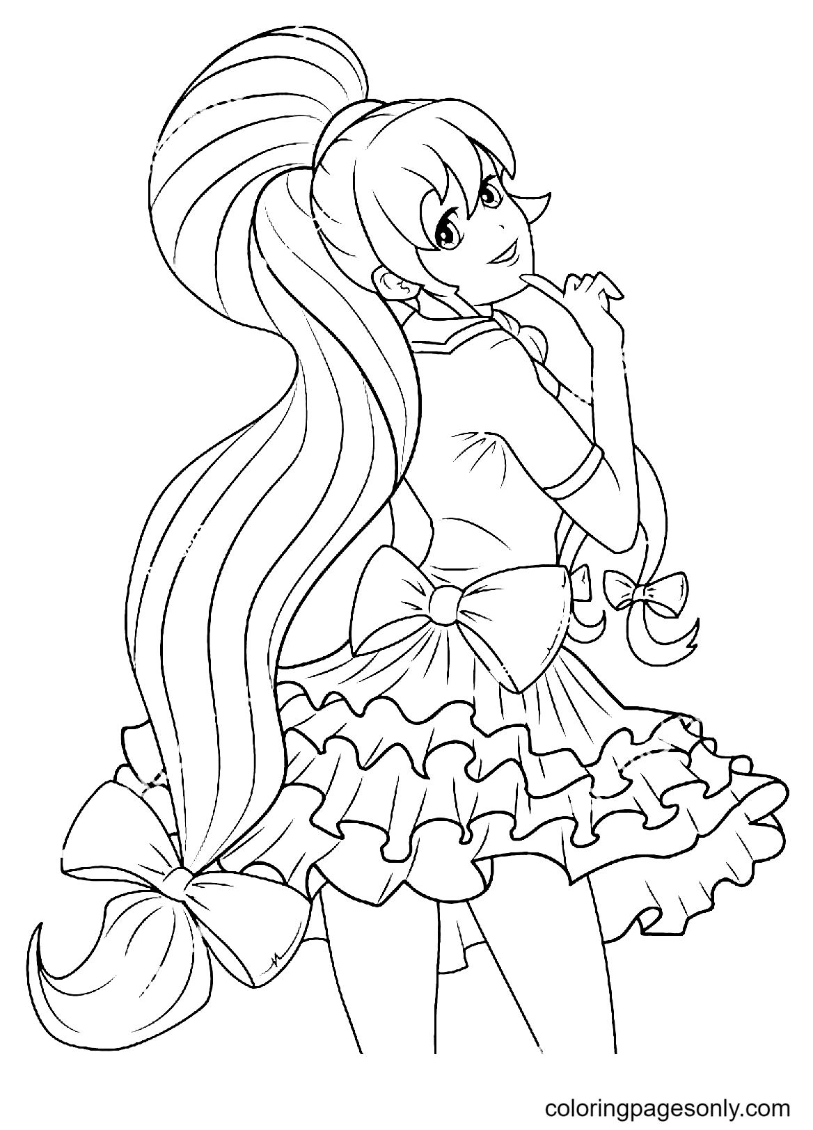 Beautiful Girl in a Lovely Dress Coloring Page
