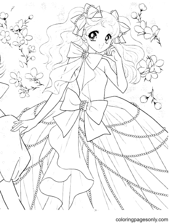 Beautiful Long Hair Anime Girl Coloring Page