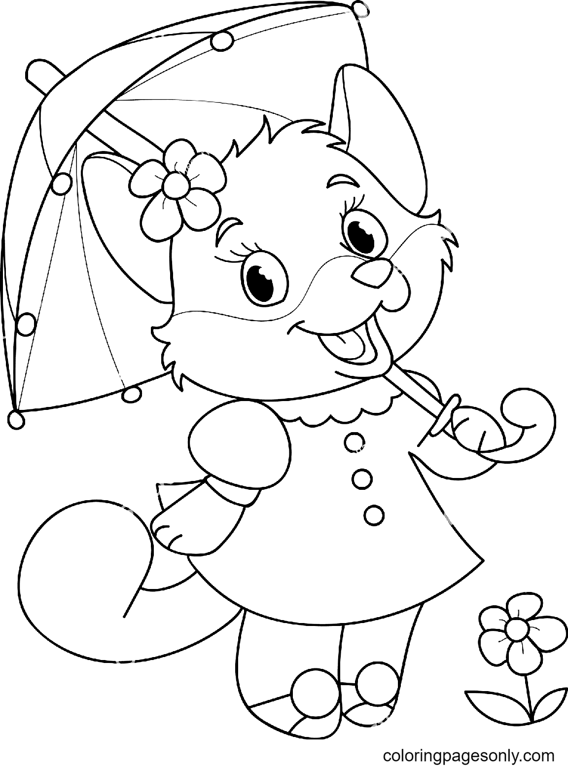 Beautiful Smiling Fox Coloring Page