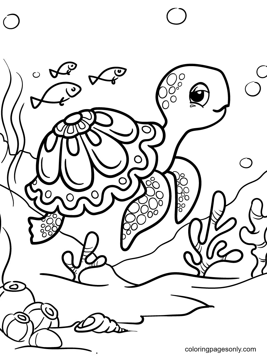 Beautiful Turtle Coloring Page